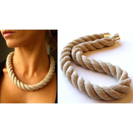 Naszyjnik lniany gruby sznur na szyję