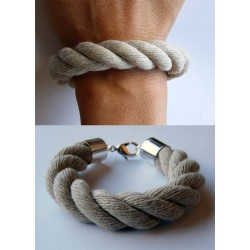 Bransoleta lniany gruby sznur