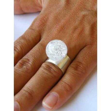 Pierścionek LAWA WULKANICZNA brązowa srebrna szeroka obrączka