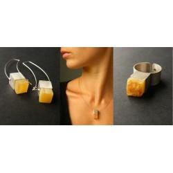 KOMPLET kolczyki+wisiorek+pierścionek BURSZTYN polerowany oksydowane srebro KOSTKA